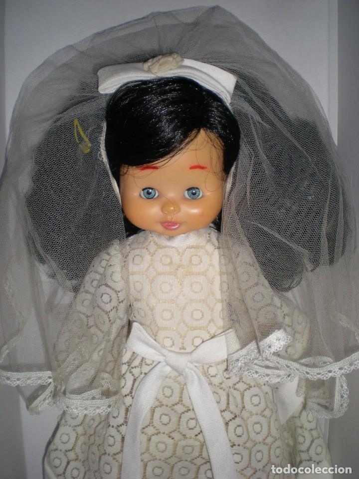 Otras Muñecas de Famosa: preciosa cabeza muñeca meggy o mari loli de famosa años 70 restaurada +regalo cuerpo y vestido novia - Foto 3 - 78190413