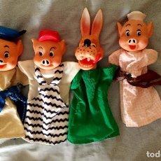 Otras Muñecas de Famosa: 4 MARIONETAS (3 CERDITOS Y EL LOBO) FAMOSA FABRICACIÓN ESPAÑOLA AÑOS 70 O 80. Lote 274412083