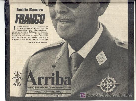 Coleccionismo deportivo: Diario 'ARRIBA'. 20 Noviembre 1975. 4ª edición especial. Muerte de Franco. Envío: 2,50 € *. - Foto 2 - 156968458