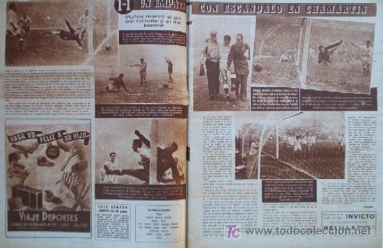 Coleccionismo deportivo: SEMANARIO DEPORTIVO MARCA - Año 1949 - En Portada: EL PARTIDO REAL MADRID - DEPORTIVO DE LA CORUÑA - Foto 2 - 26752416