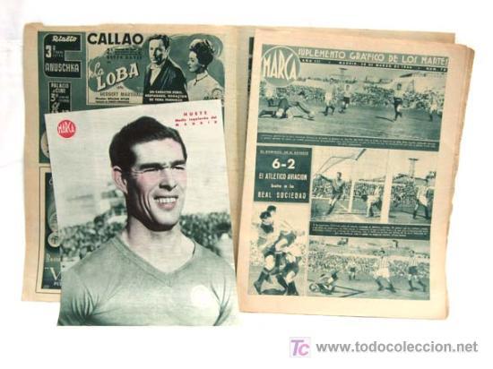 Coleccionismo deportivo: Marca Suplemento Gráfico Deportes nº 170 1944 Atlético Aviación bate Real Sociedad - Foto 2 - 4894407