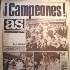 Coleccionismo deportivo: PERIODICO DIARIO AS CON PORTADA HISTORICA FUTBOL REAL MADRID CAMPEON DE LIGA 1986. Lote 26380463