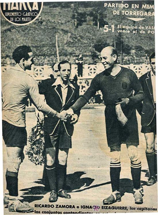 Coleccionismo deportivo: RICARDO ZAMORA, IGNACIO EIZAGUIRRE. VASCONIA VENCE AL DE POLICIA - Foto 2 - 7159472