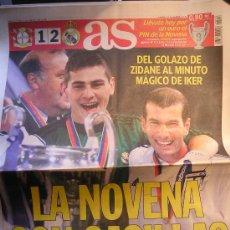 Coleccionismo deportivo: PERIODICO DIARIO AS REAL MADRID CAMPEON DE EUROPA 2002 LA NOVENA. Lote 26323060