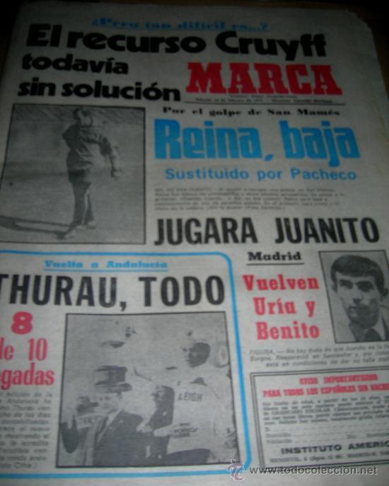 MARCA 19/02/1977 + 16 PAGINAS MARCA 5/02/1977. REINA, JUANITO, THURAU, LORA, PEREIRA, EVANGELISTA... (Coleccionismo Deportivo - Revistas y Periódicos - Marca)