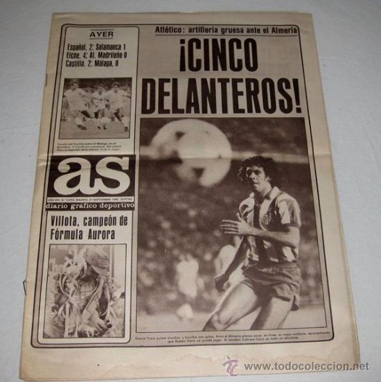 ANTIGUO PERIODICO AS - 21 SEPTIEMBRE DE 1980 - EN - EL ALMERIA MILAGRO DEL FUTBOL E (Coleccionismo Deportivo - Revistas y Periódicos - As)