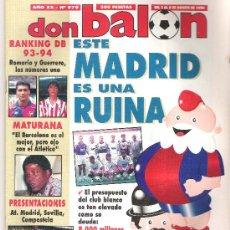 Coleccionismo deportivo: DON BALON Nº 979. AGOSTO 1994. RANKING DB 93 -94. ENTREVISTA: PACHO MATURANA.. Lote 11577890