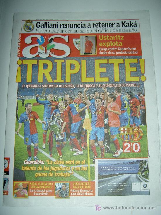 DIARIO AS FUTBOL CLUB BARCELONA CAMPEON EUROPA CHAMPIONS LEAGUE 2009 , (Coleccionismo Deportivo - Revistas y Periódicos - As)