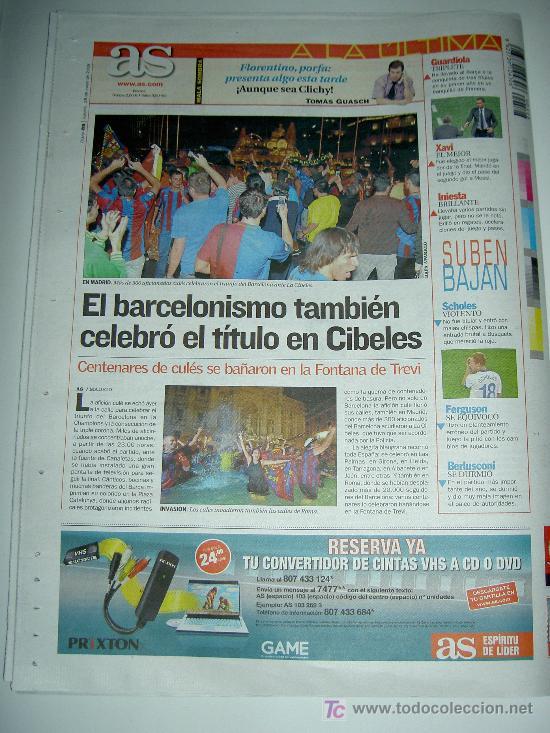 Coleccionismo deportivo: DIARIO AS FUTBOL CLUB BARCELONA CAMPEON EUROPA CHAMPIONS LEAGUE 2009 , - Foto 6 - 27104996