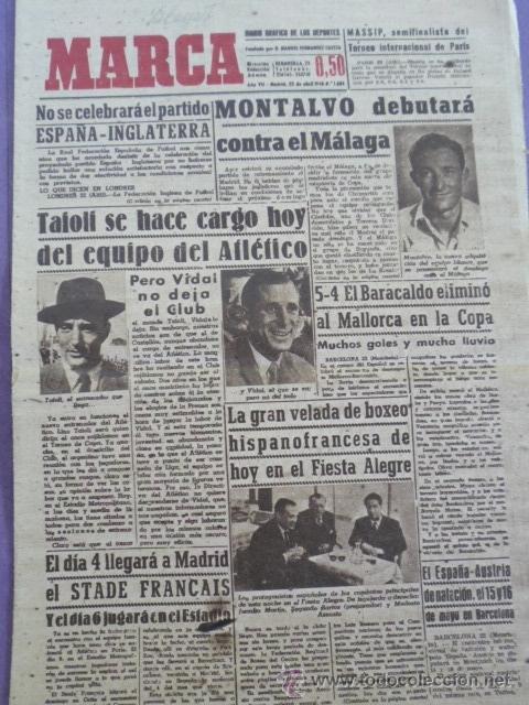 MARCA DIARIO-AÑO VII.1948 1684-ZARAGOZA CONTARA EN MAYO CON UNA CIUDAD DEPORTIVA-ESTADIO CASABLANCA (Coleccionismo Deportivo - Revistas y Periódicos - Marca)