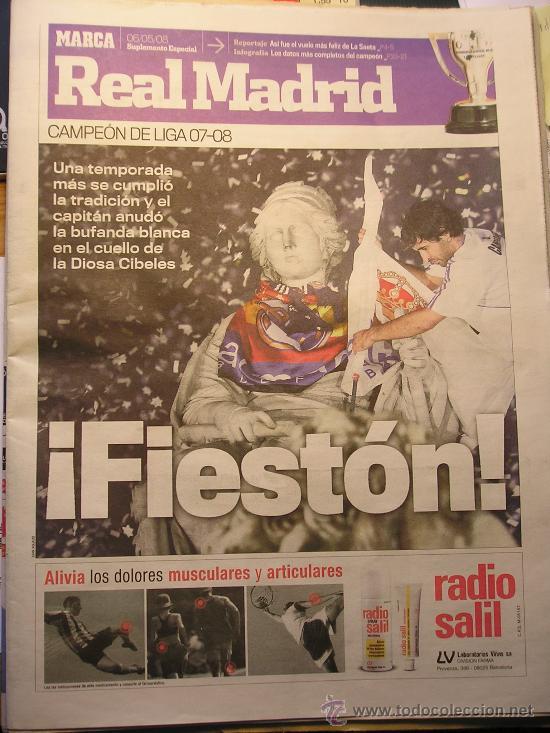 SUPLEMENTO ESPECIAL PERIODICO DIARIO MARCA REAL MADRID CAMPEON DE LIGA 2008 (Coleccionismo Deportivo - Revistas y Periódicos - Marca)