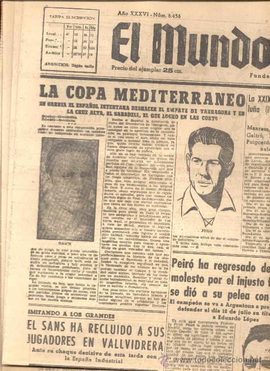 EL MUNDO DEPORTIVO Nº 6456 1944 LA COPA MEDITERRANEO ESPAÑOL TARRAGONA SABADELL RAICH JUGO (Coleccionismo Deportivo - Revistas y Periódicos - Mundo Deportivo)