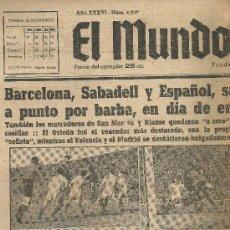 Coleccionismo deportivo: EL MUNDO DEPORTIVO Nº 6337 1944 PARADA DE FRANCAS GUARDA META DEL SABADELL. Lote 17362313