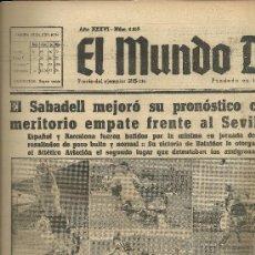 Coleccionismo deportivo: EL MUNDO DEPORTIVO Nº 6313 1944 INTERVENCIÓN DEL META DEL CASTELLON ACOSADO POR JUNCOSA BUSTOS . Lote 17608712