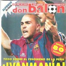 Coleccionismo deportivo: DON BALON Nº 1047 ** IVAN DE LA PEÑA / SUKER / MAURO SILVA / POSTER ALFONSO 1995. Lote 19076139