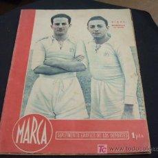 Collezionismo sportivo: MARCA 9 ENERO 1945 - PORTADA, VIDAL Y BORBOLLA REAL MADRID - . Lote 26150032