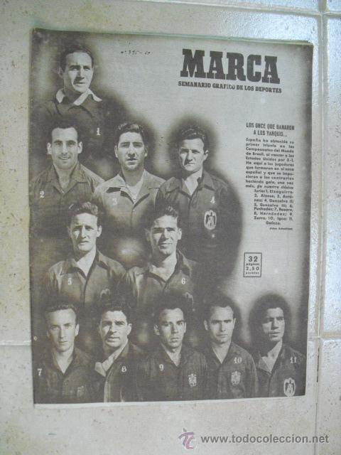 MARCA REVISTA Nº 395- 27 DE JUNIO 1950,(PARTIDO ESPAÑA 3 ESTADOS UNIDOS 1) (Coleccionismo Deportivo - Revistas y Periódicos - Marca)