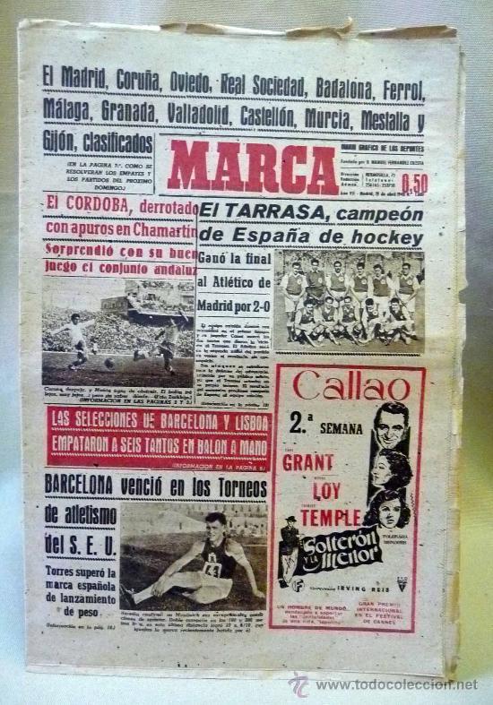 PERIODICO DEPORTIVO MARCA, 19 DE ABRIL DE 1948 (Coleccionismo Deportivo - Revistas y Periódicos - Marca)