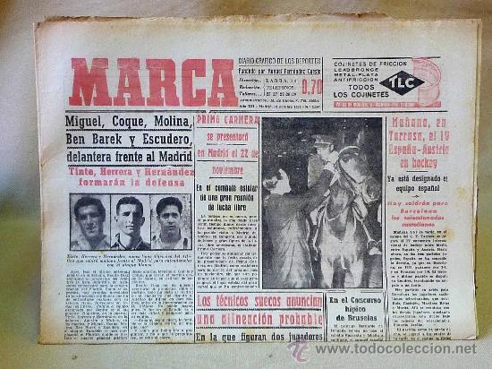 PERIODICO DEPORTIVO MARCA, 31 DE OCTUBRE , 1953 (Coleccionismo Deportivo - Revistas y Periódicos - Marca)