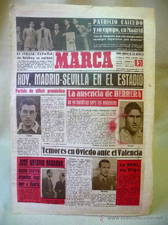 DEPORTIVO MARCA, 16 DE NOVIEMBRE 1947 (Coleccionismo Deportivo - Revistas y Periódicos - Marca)