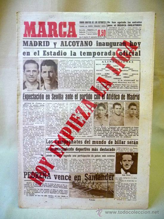 PERIODICO DEPORTIVO MARCA, 21 SEPTIEMBRE 1947 (Coleccionismo Deportivo - Revistas y Periódicos - Marca)