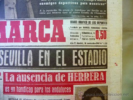 Coleccionismo deportivo: DEPORTIVO MARCA, 16 DE NOVIEMBRE 1947 - Foto 2 - 24275930