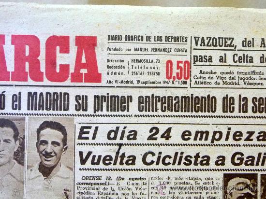 Coleccionismo deportivo: DEPORTIVO MARCA, 19 SEPTIEMBRE 1947 - Foto 2 - 24275885