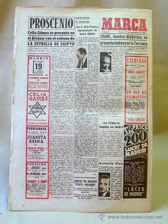 Coleccionismo deportivo: DEPORTIVO MARCA, 19 SEPTIEMBRE 1947 - Foto 3 - 24275885
