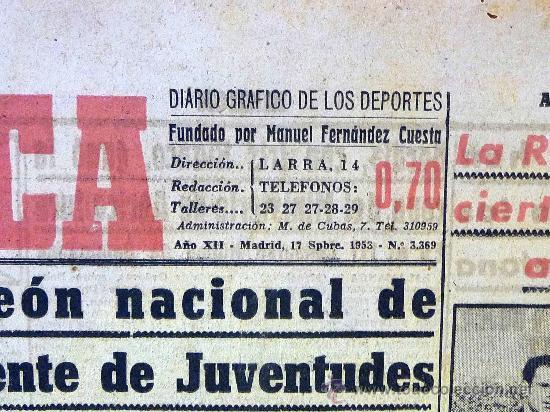 Coleccionismo deportivo: DEPORTIVO MARCA, 22 DE OCTUBRE 1953 - Foto 3 - 24274706