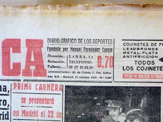 Coleccionismo deportivo: PERIODICO DEPORTIVO MARCA, 31 DE OCTUBRE , 1953 - Foto 2 - 24274548