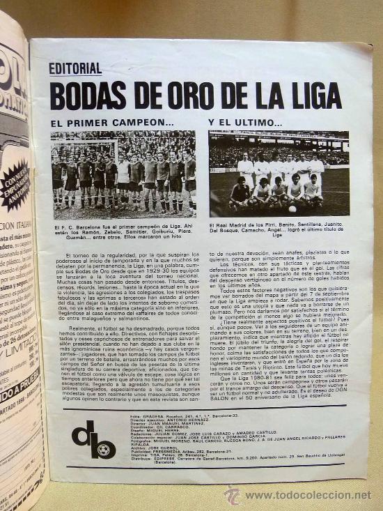 Coleccionismo deportivo: REVISTA, DON BALON, LIGA 80-81, EXTRA, EDITA GRADESA - Foto 3 - 27952726
