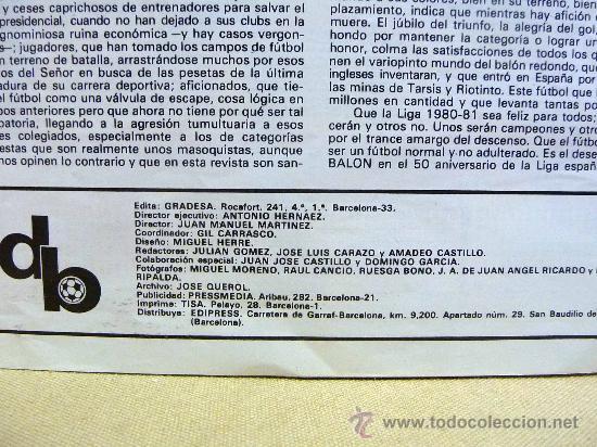 Coleccionismo deportivo: REVISTA, DON BALON, LIGA 80-81, EXTRA, EDITA GRADESA - Foto 4 - 27952726