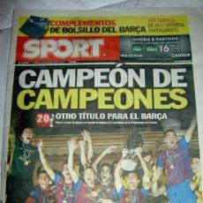 Coleccionismo deportivo: DIARIO SPORT 27-08-11 F.C. BARCELONA 2 OPORTO 0 CAMPEON SUPERCOPA EUROPA LIGA FUTBOL 2011. Lote 28808316