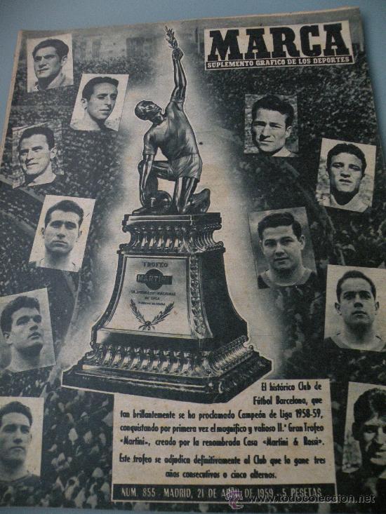 DIARIO MARCA, BARCELONA CAMPEON LIGA 1958-59, REAL MADRID, ATLETICO, DERBI!!!!!! (Coleccionismo Deportivo - Revistas y Periódicos - Marca)