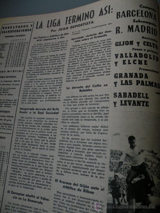 Coleccionismo deportivo: DIARIO MARCA, BARCELONA CAMPEON LIGA 1958-59, REAL MADRID, ATLETICO, DERBI!!!!!! - Foto 5 - 28654011