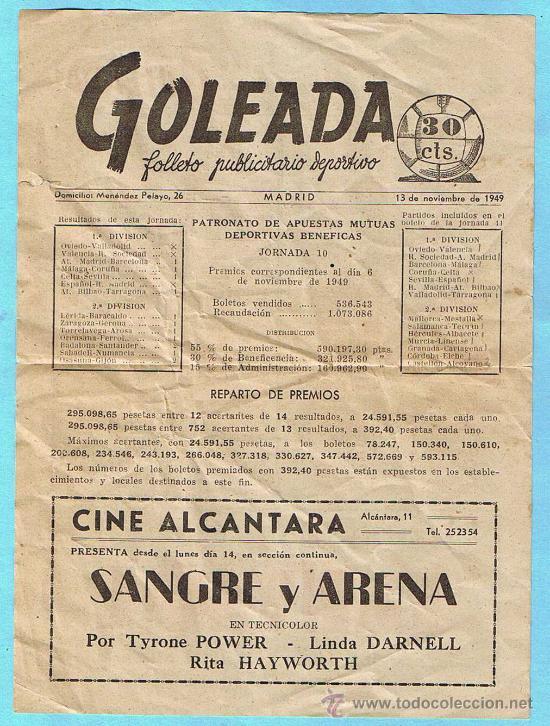 GOLEADA. FOLLETO PUBLICITARIO DEPORTIVO. MADRID, 1949. (Coleccionismo Deportivo - Revistas y Periódicos - As)