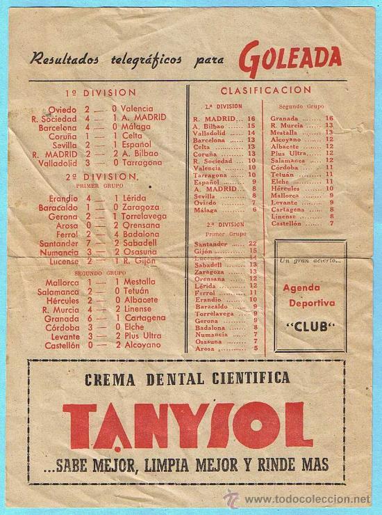 Coleccionismo deportivo: GOLEADA. FOLLETO PUBLICITARIO DEPORTIVO. MADRID, 1949. - Foto 2 - 29750624