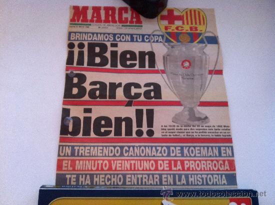 PORTADA ORIGINAL DE MARCA. 21/05/92. BARCELONA, CAMPEON DE EUROPA. EL GOL DE KOEMAN. (Coleccionismo Deportivo - Revistas y Periódicos - Marca)