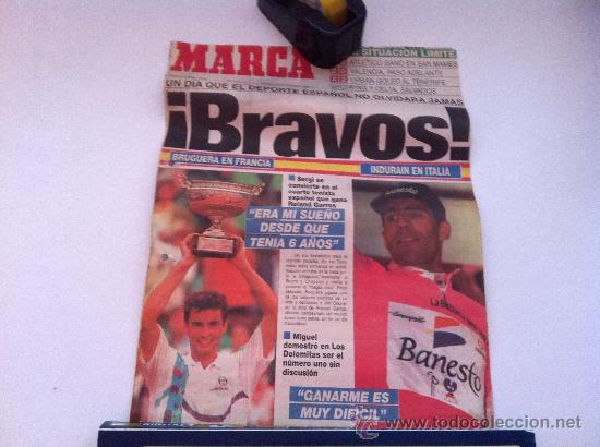 PORTADA ORIGINAL DE MARCA. 07/06/93. INDURAIN, CAMPEON DEL GIRO. BRUGUERA, CAMPEON DE ROLAN GARRO (Coleccionismo Deportivo - Revistas y Periódicos - Marca)