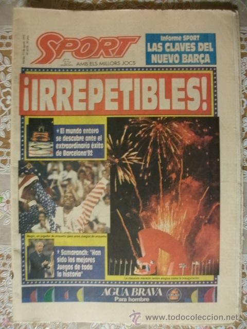 SPORT AGOSTO 1992 CLAUSURA JUEGOS OLIMPICOS BARCELONA (Coleccionismo Deportivo - Revistas y Periódicos - Sport)
