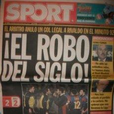 Coleccionismo deportivo: SPORT BARCELONA EL ROBO DEL SIGLO . R.MADRID 2 - BARÇA 2. Lote 30119827