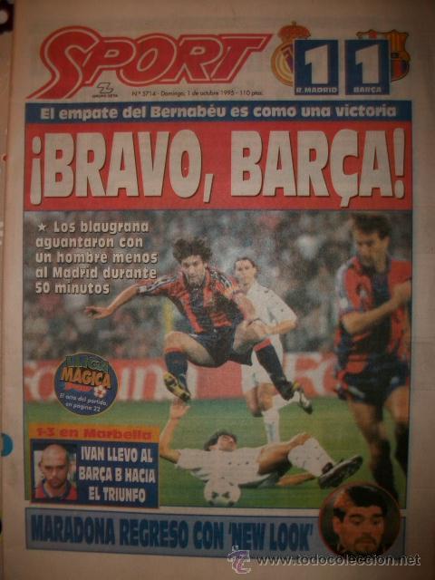 SPORT BRAVO BARÇA 1995 R. MADRID 1 -BARCELONA 1 (Coleccionismo Deportivo - Revistas y Periódicos - Sport)