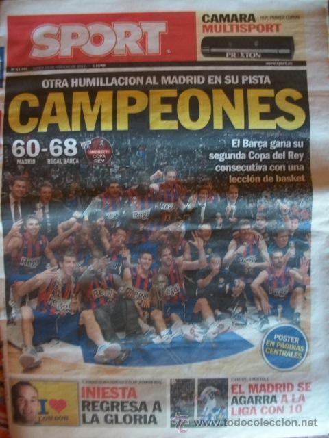 SPORT FEBRERO 2011 BARÇA CAMPEON COPA DEL REY DE BALONCESTO (Coleccionismo Deportivo - Revistas y Periódicos - Sport)