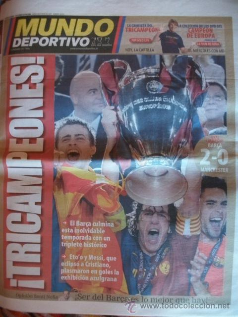MUNDO DEPORTIVO MAYO 2009 BARÇA CAMPEON CHAMPIONS (Coleccionismo Deportivo - Revistas y Periódicos - Mundo Deportivo)