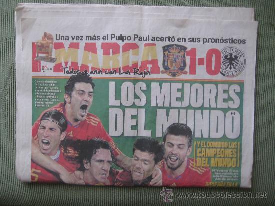 DIARIO MARCA ,8 DE JULIO DE 2008,ESPAÑA 1 ALEMANIA 0,SEMIFINAL CAMPEONATO DEL MUNDO DE 2010 (Coleccionismo Deportivo - Revistas y Periódicos - Marca)