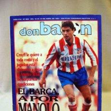 Coleccionismo deportivo: REVISTA DEPORTIVA, FUTBOL, DON BALON, Nº 808, EL BARÇA A POR MANOLO, 1991, POSTER REAL BURGOS. Lote 31377362