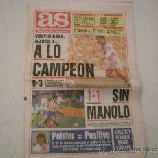 Coleccionismo deportivo: DIARIO AS, LUNES 19 DE OCTUBRE DE 1992. Lote 31912729