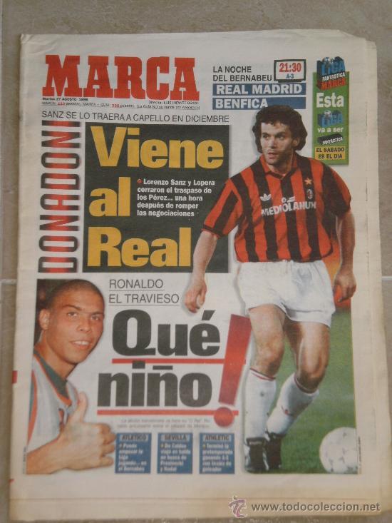 PERIODICO MARCA , 27 DE AGOSTO 1996 . (Coleccionismo Deportivo - Revistas y Periódicos - Marca)