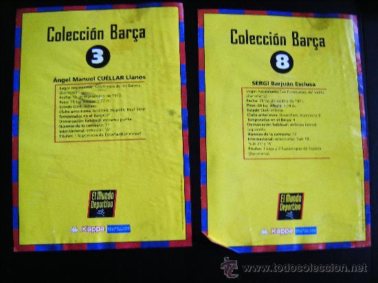 Coleccionismo deportivo: LOTE 2 COLECCION BARCA MUNDO DEPORTIVO, KAPPA, Nº3 CUELLAR, Nº8 SERGI BARJUAN, TAMAÑO FOLIO, 21X30CM - Foto 4 - 33249029