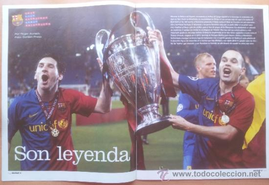 Coleccionismo deportivo: DON BALON FC BARCELONA TRICAMPEON 2008/2009 POSTER CAMPEON CHAMPIONS LEAGUE LIGA COPA DEL REY 09 - Foto 3 - 34521914